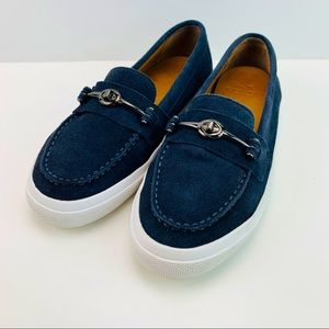 Coach New York Corey Moc Toe Suede Loafer Navy